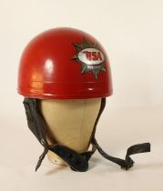 An Everoak red pudding basin helmet, size 6 7/8, sprayed red with BSA 500 Gold Star decal.