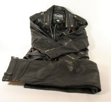 A Dobbs leather two piece suit jacket, size 48, with Triumph and Triton badges, together with a