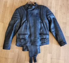 A JT's leather two piece suit, size 48, with bib trousers.
