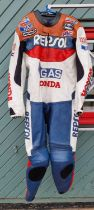 An Echt Ledr Honda Repsol one piece leather race suit, size XXL, with protectors