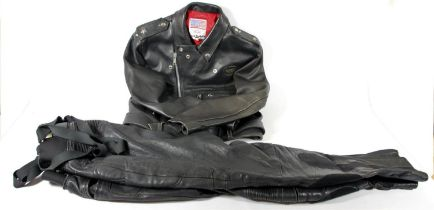 A Lewis leathers jacket, size 42 and a pair of Frank Thomas trousers, size 38.