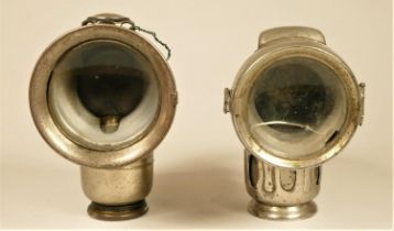 A Lucas Aceta Major 314N acetylene bicycle lamp and a Powell & Hanmer Chieftain bicycle lamp (2)