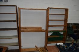 Two sets of pine open shelves