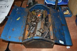 A selection of spanners and engineers mechanics tools in metal tool box