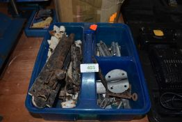 A selection of hardware fitments and plumbing parts including push fit joints