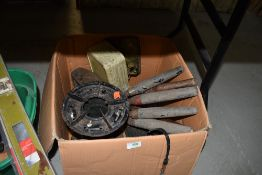 A selection of gardening an camping tools including gas burner and clippers