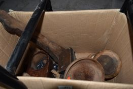 A selection of treen wood bowls and similar decorations