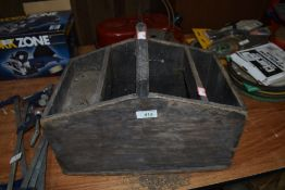 A vintage wooden garden trugg or tool carry box no wood worm found