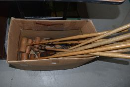 A selection of croquet equipment, possibly Jacques or similar