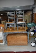 A part painted kitchen table and four similar ladder back chairs, table approx. 138 x 92cm