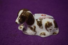 A Royal Crown Derby paperweights Scruffy, with gold stoppers