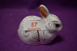 A Royal Crown Derby paperweights Bunny, with gold stoppers
