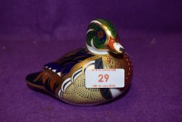 A Royal Crown Derby paperweight Carolina Duck with gold stopper