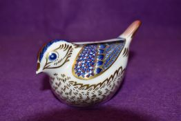 A Royal Crown Derby paperweight Goldcrest with gold stopper