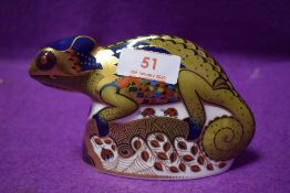 A Royal Crown Derby paperweight Chameleon with gold stopper