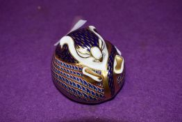 A Royal Crown Derby paperweight Sitting Dormouse with gold stopper