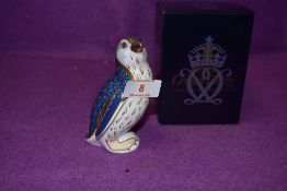A Royal Crown Derby paperweight Fairy Penguin with a Gold stopper and boxed