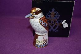 A Royal Crown Derby paperweight Kookaburra with a Gold stopper