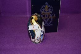 A Royal Crown Derby paperweight Penguin and Chick with a Gold stopper