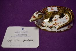 A Royal Crown Derby paperweight Crocodile with gold stopper and certificate