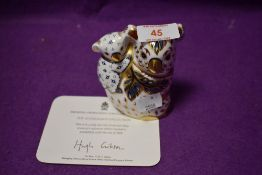 A Royal Crown Derby paperweight Koala and Baby with gold stopper and certificate