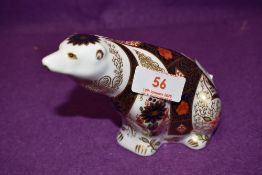 A Royal Crown Derby paperweight Old Imari Polar Bear with gold stopper