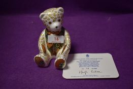 A Royal Crown Derby paperweight Regal Goldie Bear with a Gold stopper and certificate
