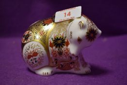 A Royal Crown Derby paperweight Rocky Mountain Imari Bear with a Gold stopper