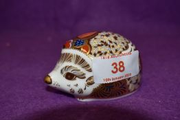 A Royal Crown Derby paperweight Bramble Hedgehog with gold stopper
