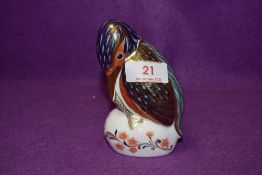 A Royal Crown Derby paperweight Kingfisher with a Gold stopper