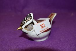 A Royal Crown Derby paperweight Crested Tit with gold stopper