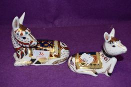 Two Royal Crown Derby paperweights Donkey and Donkey Foal, with gold stoppers