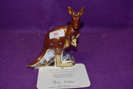 A Royal Crown Derby paperweight Kangaroo with gold stopper and certificate