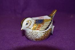 A Royal Crown Derby paperweight Firecrest with gold stopper
