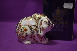 A Royal Crown Derby paperweight Russian Bear boxed with a Gold stopper