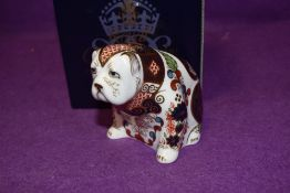 A Royal Crown Derby paperweight Bulldog, boxed with a gold stopper