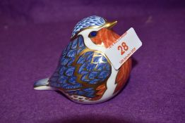 A Royal Crown Derby paperweight Robin with gold stopper