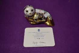 A Royal Crown Derby paperweight Harbour Seal with a Gold stopper and certificate