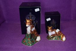 Two Royal Crown Derby paperweights. Mother Fox and Fox Cub, both boxed and with gold stoppers