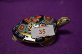 A Royal Crown Derby paperweight Terrapin with gold stopper and certificate
