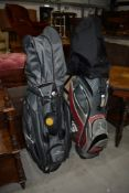 A selection of modern golf clubs in two bags, including part set Ping i3, Ping G15 titanium