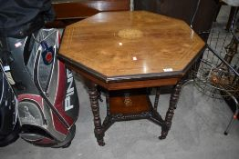 A Victorian part mahogany octagonal occasional table, diameter approx. 76cm