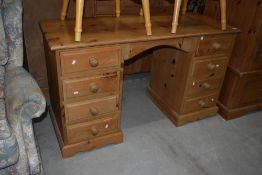 A modern natural pine dressing table/desk, approx. width 132cm