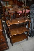 A Victorian mahogany etage/whatnot having turned frame, height approx. 118cm