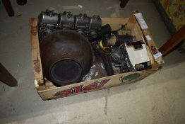 A selection of vintage motorcycle parts etc