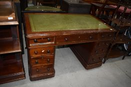 A late Victorian stained frame pedestal desk having skiver top, approx. 120 x 72cm