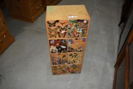 A vintage plywood set of eight drawers, suitable for CDs , Small Toys etc, decoupage decoration