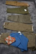 A selection of gents plus fours including Barbour, also a vintage lambswool jumper and scarf, some
