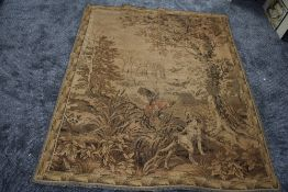 An antique woven tapestry or similar having hunting theme of dogs and birds.