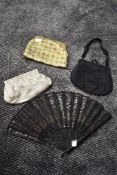 Three vintage evening bags and a late 19th/early 20tch century black gauze fan having spangles